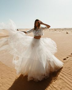 Wedding Dresses With Sleeves Alicia Rueda Dress Tea Length Wedding Dress, Tea Length Dresses, Boho Wedding Dress, Wedding Bride, Wedding Dresses With Flowers, Best Wedding Dresses, Bridal Dresses, Two Piece Gown, Princess Ball Gowns