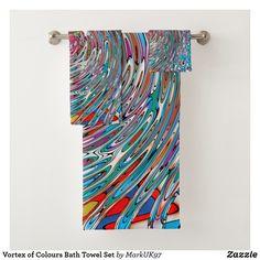 Vortex of Colours Bath Towel Set Spa Towels, Bathroom Towels, Bath Towel Sets, Luxury Bath, Print Design, Europe, Textiles, France, Colours