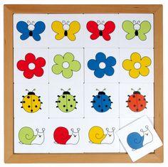 --- Kleurenspel --- Speciaal ontwikkeld voor kinderen van 2-5 jaar. Acht eenvoudige lotto's, passend bij de belevingswereld van deze leeftijd. Alle spellen zijn gemaakt van 2,5 mm kunststof en per spel verpakt in een beukenhouten inlegraam. Alle 8 lotto's samen passen in de puzzelkast 34.  Formaat: 34 x 34 cm  523 015