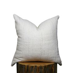 Mudcloth Pillow Cover Cream African Mud Cloth
