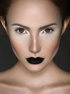 black swan theme dramatic model runway makeup look black lips