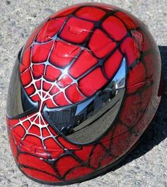 And, of course, Spiderman.Spiderman Motorcycle Helmet by AirGraffix. Motorcycle Helmet Design, Motorcycle Gear, Motorcycle Accessories, Bike Helmets, Helmet Accessories, Racing Helmets, Women Motorcycle, Custom Helmets, Custom Bikes