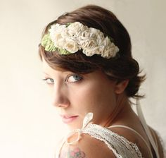 bridal floral fascinator rose hair band with vintage by whichgoose