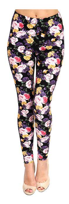 Printed Brushed Leggings - Pink Yellow Purple Roses  #Leggings #OOTD #Fashion #VIVCollection