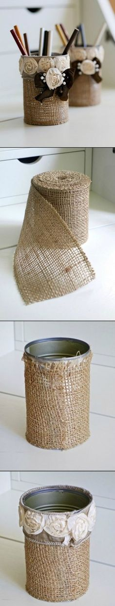 For this rustic DIY burlap pencil holder you'll need burlap ribbon, rose ribbon, a can and pearl pins. Glue your burlap over the can in a. Burlap Projects, Burlap Crafts, Diy Projects To Try, Craft Projects, Tin Can Crafts, Cute Crafts, Diy And Crafts, Arts And Crafts, Diy Pencil Case