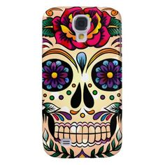 Colorful Retro Skull Flowers & Roses Galaxy S4 Cover