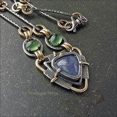 Strukova Elena - авторские украшения - Ожерелье с танзанитом и змеевиком
