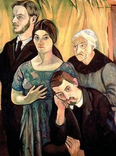Suzanne Valadon.  Self Portrait with Family (André Utter, Madeleine Valadon and Maurice Utrillo).  (c.1910)