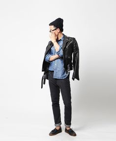 demin shirt // black skinnies // leather rider jacket // black beanie