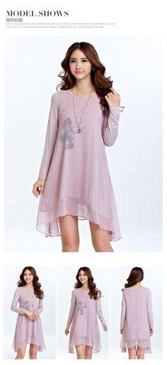 Autumn Fashion Printing Irregular Hem Dress $70 Size(cm)LengthBustShoulderCuffSleeveArm S84.5923618.55830 M85.59637195931 L86.51003819.56032 XL8810639.5206133.5 2XL89.51124120.561.535 3XL9111842.52161.536.5