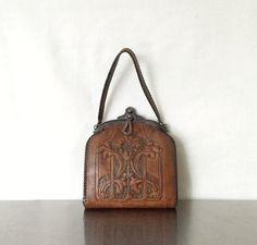 Art Nouveau Purse  Vintage Leather Bag by mimileather on Etsy