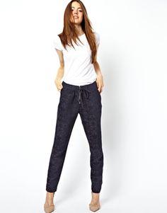 Immagine 1 di ASOS - Pantaloni in jacquard con zip sul davanti