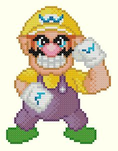 Wario Cross Stitch Pattern by KeenahsCrossStitch on Etsy, $2.99