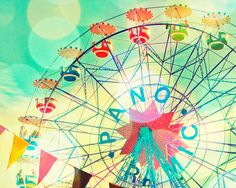 Carnival photography, nursery art, children's room decor, ferris wheel, wall art, baby, circus photograph, pastel, carnival art on Etsy, $30.00