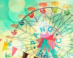 Carnival photography, nursery art, children's room decor, ferris wheel, wall art, baby, circus photograph, pastel, carnival art on Etsy, $30.00