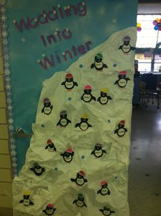 Winter Penguin Door with FREE templates for the penguins.  Primary Possibilities: Five for Friday with some Freebies!