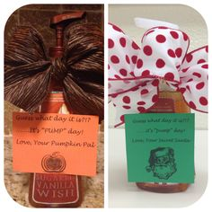 """Gift idea for secret pal-soap pump with note attached saying-Guess what day it is? .......it's """"PUMP"""" day!"""