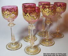 Antique Hock wine goblets c1890. These are clear red laden with gold moser heckert style - reminders of an elegant and romantic past. I don't know what this Hock and heckert are. But Moser is a Bohemian glass maker, and I recognize their style.