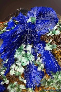 Azurite with Olivenite --- Mine-132, Kamariza; Lavrio; Greece