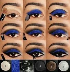 maquillaje de sombras azules ahumado