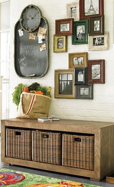 Make the perfect entrance with our Baylor bench with baskets in your foyer or mudroom.