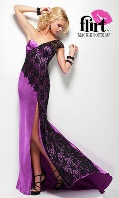 Long one shoulder sweetheart dress with lace