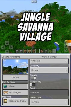 Check out this savanna village! It is placed in a jungle biome. The seed is 'stersaw'. For Minecraft PE 0.15, 0.16+