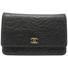 Chanel Camellia Embossed Wallet On Chain Black Lambskin Leather Flap Bag