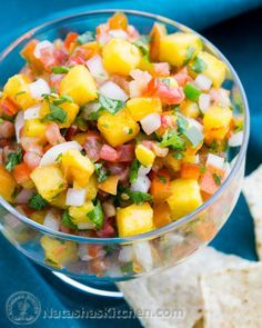 Fresh Peach Salsa: I loved the combination of flavors in this salsa. It went really well with grilled pork chops. The only thing I changed was to sub lemon juice for lime and fresh parsley for cilantro due to availability.