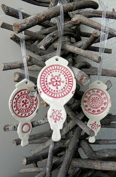 Christmas Ornaments Pottery Red White Lace Decoration by Ceraminic