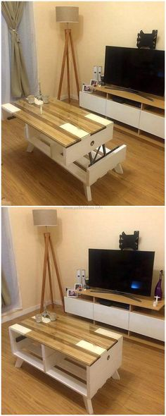 Havingreclaimed pallets top up table table is great project to enhance the grace and charm of your place. Its simple wood color blended with white gives lovely and winsome look. D o have such crafts for your convenience.