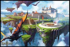 RUNESCAPE fantasy adventure island city castle dragon wallpaper background