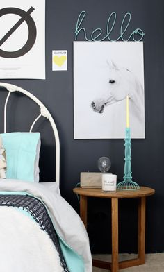 One for the teen girls. Grey and Mint girls bedroom #kinderkamer #barnrum #interieur