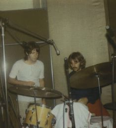 7th August 1969. Paul and Ringo working through his percussion parts at Abbey Road.