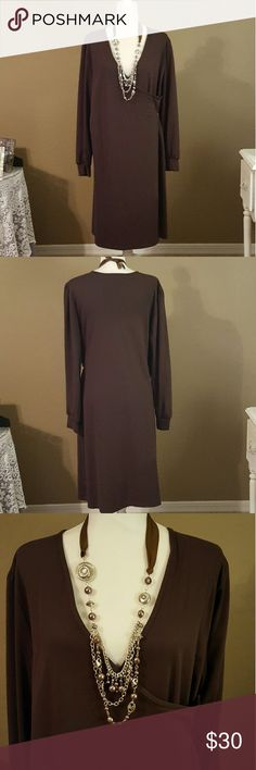 Plus Size Brown Wrap Dress V-neck. Wrap dress. 6 buttons on left side. Long sleeves with cuff. Mid-calf length. Rayon / spandex blend. Necklace also available in my closet! The necklace is silver with brown and silver beads. Hi is a brown satin ribbon.      and a brown satin ribbon tie at neck. Faith Love Passion Dresses