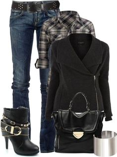 Casual Outfit except for the boot, not my style at all. Style Work, Mode Style, Style Me, Black Style, Fashion Moda, Look Fashion, Womens Fashion, Fall Fashion, Fashion Edgy