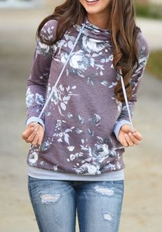 Purple Floral Print Drawstring Cowl Neck Casual Slim Hooded Pullover Sweatshirt