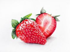 Illustrated imaginarium - Strawberry by Emmatyan finest watercolor art Watercolor Fruit, Watercolor Sketch, Watercolor Paintings, Watercolors, Food Art Painting, Fruit Painting, Strawberry Tattoo, Plant Illustration, Food Drawing