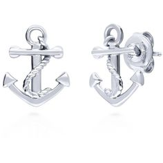 BERRICLE Sterling Silver Anchor Fashion Stud Earrings ($27) ❤ liked on Polyvore featuring jewelry, earrings, stud earrings, women's accessories, post back earrings, anchor stud earrings, charm earrings, anchor jewelry and sterling silver anchor jewelry