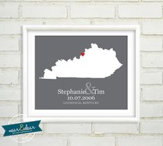 Custom Wedding Gift  : Personalized Wedding Location and State Map Print - 8x10 / Kentucky - Any State or Country Available - Gift for Her on Etsy, $24.00