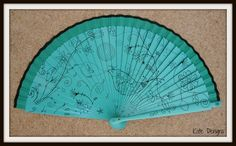 Teal Turquoise and Black Wooden Hand Fan Folding Handheld Spanish Flamenco Fan - From Spain Ideal For Hot Flashes Summer Heatwave by DengraDesigns on Etsy