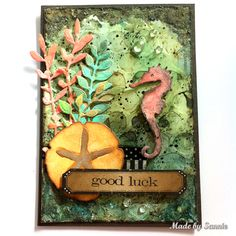 Made by Sannie: Under the Sea Good Luck card with video tutorial - #sssmchallenge - Join in our nautical challenge  @Simonsaysstamp Monday challenge.