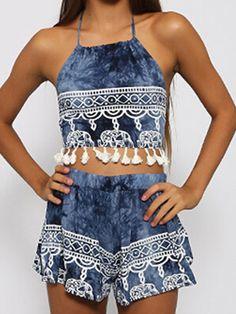 Blue,Halter,Elephant Print,Tassel,Backless,Crop Top And Shorts