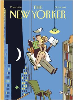 """The New Yorker - Monday, October 4, 1999 - Issue # 3861 - Vol. 75 - N° 29 - Cover """"The Unbearable Lightness of Reading"""" by Ever Meulen"""