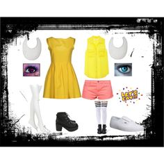 fnaf: Chica and Toy Chica by felicityr2002 on Polyvore featuring Equipment, Roxy, Chantal Thomass, Vans and Nexus