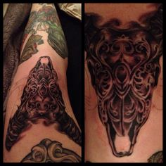 Knee tattoo - ram skull