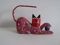 Wooden cat with ball hand curved and hand painted by HuntWithJoy,