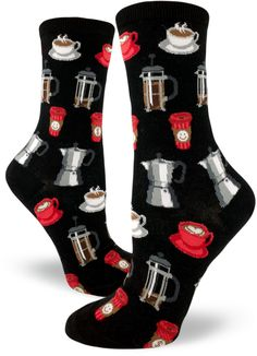 Coffee is good for the soul. Drink it up with these ModSocks' women's crew socks.