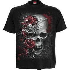Spiral-SKULLS N ROSES-Men /'s court noir T-shirt manches.