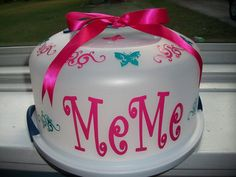 Personalized Cake Carrier Swirls and Butterflies